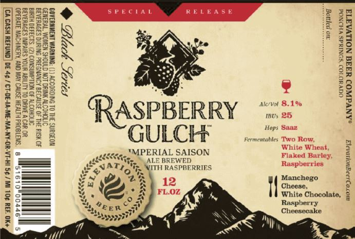 elevation raspberry gulch TABC Label and Brewery Approvals Aug 19 2016