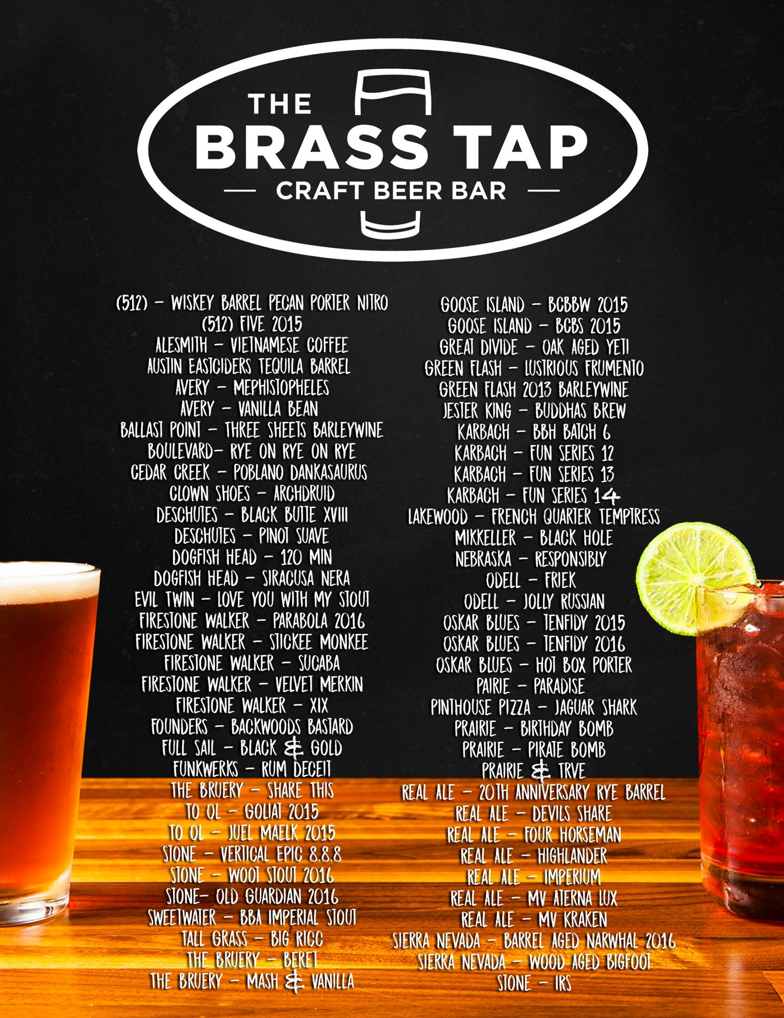 Grand Opening Tap List for the Brass Tap Domain