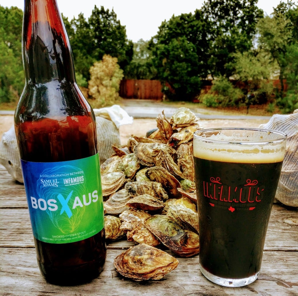 Picture of BOSxAUS Collaboration Oyster Stout Samuel Adams Infamous Brewing